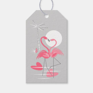 Flamingo Love Text grey back gift tags