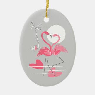 Flamingo Love text ornament oval