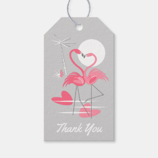 Flamingo Love Thank You text back grey gift tags