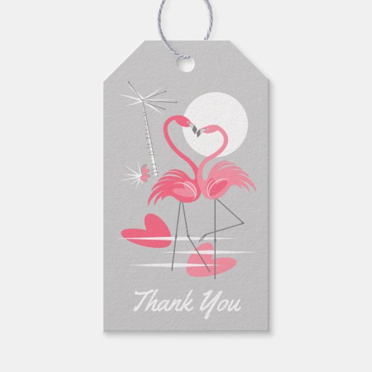 Flamingo Love Thank You text back grey gift