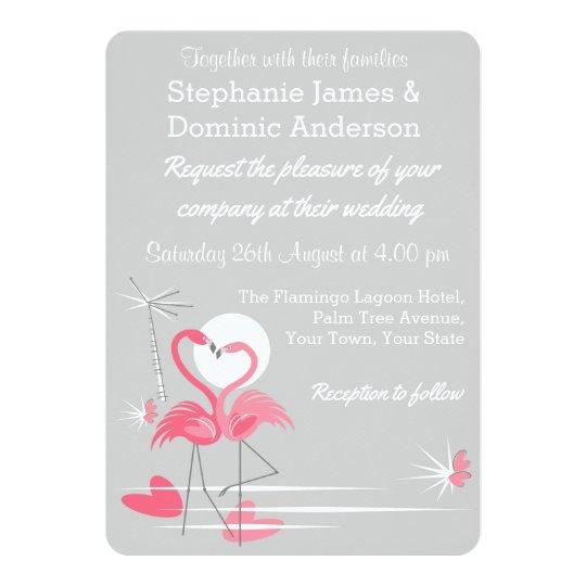 Flamingo Love wedding invitation