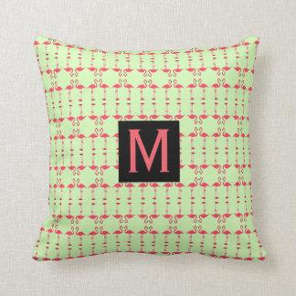Flamingo Mint Green Pink Polka Dot Monogram Pillow