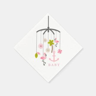 Flamingo Mobile Modern Pink Baby Shower Napkins Paper Napkin