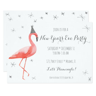 Flamingo New Year's Eve Party Fun invitation