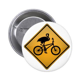 Flamingo on Bicycle 6 Cm Round Badge