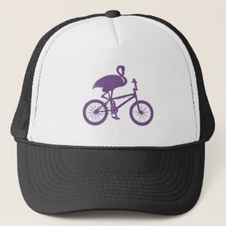 Flamingo on Bicycle Silhouette Cap