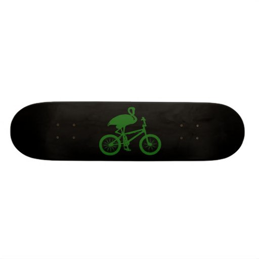 Flamingo on Bicycle Silhouette Skateboard
