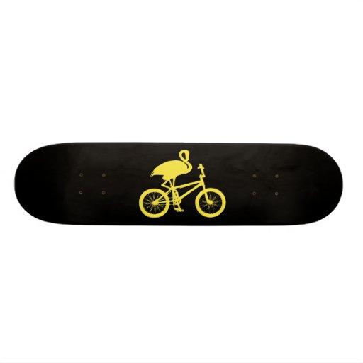 Flamingo on Bicycle Silhouette Custom Skateboard
