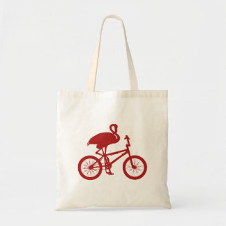 Flamingo on Bicycle Silhouette Tote Bag
