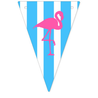 Flamingo on caribbean blue stripe flags