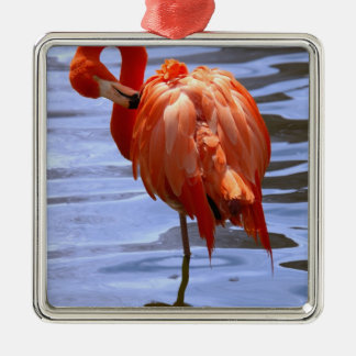 Flamingo on one leg in water christmas ornament