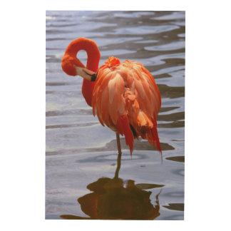 Flamingo on one leg in water wood wall decor