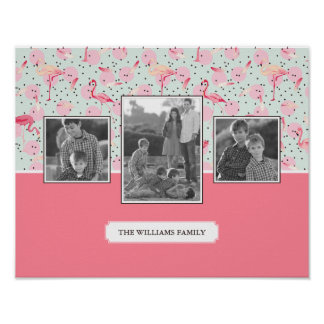 Flamingo On Polka Dots | Family Photos With Text Poster