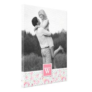 Flamingo On Polka Dots | Photo With Monogram Canvas Print