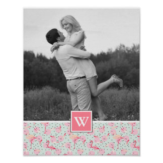 Flamingo On Polka Dots | Photo With Monogram Poster