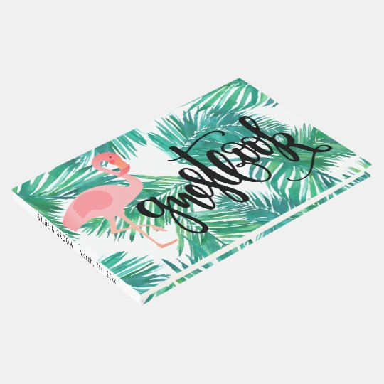flamingo on tropical palm leaves calligraphy guest book