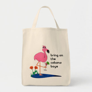 Flamingo on Vacation Tote or beach bag