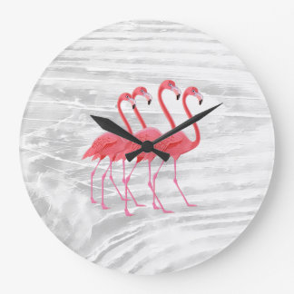 Flamingo on Washed Wood Large Clock