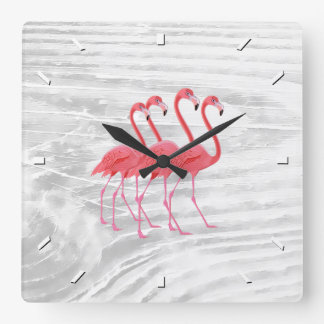 Flamingo on Washed Wood Square Wall Clock