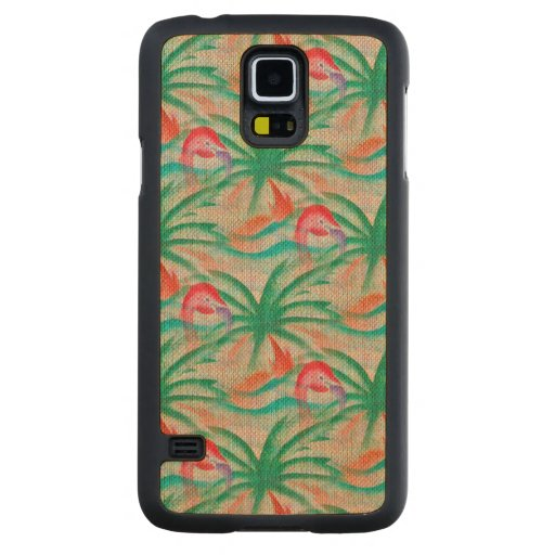 Flamingo Palm Tree Burlap Image Carved® Maple Galaxy S5 Case