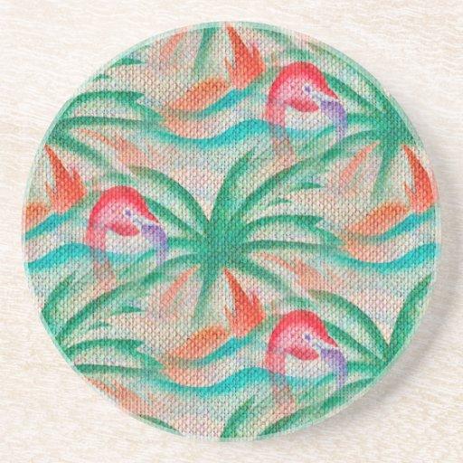 Flamingo Palm Tree Burlap Image Drink Coaster