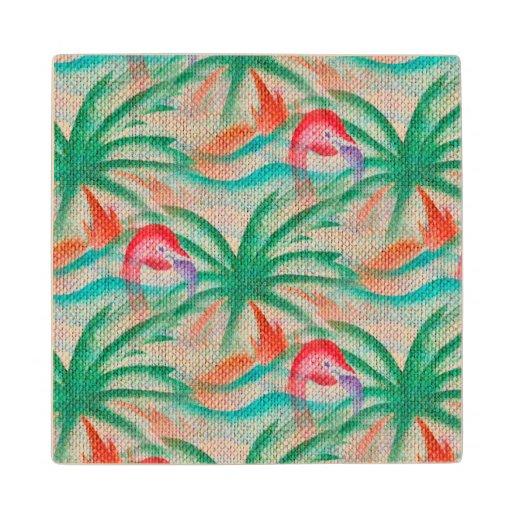 Flamingo Palm Tree Burlap Image Wood Coaster