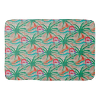 Flamingo Palm Tree Burlap Look Bath Mats