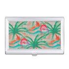 Flamingo Palm Tree Burlap Look Business Card Holder
