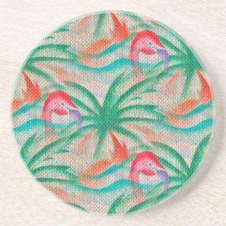 Flamingo Palm Tree Burlap Look Coaster