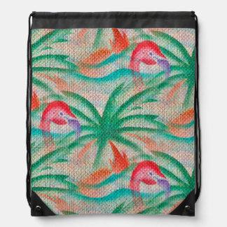 Flamingo Palm Tree Burlap Look Drawstring Bag