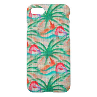 Flamingo Palm Tree Burlap Look iPhone 7 Case