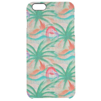 Flamingo Palm Tree Burlap Look Uncommon Clearly™ Deflector iPhone 6 Plus Case