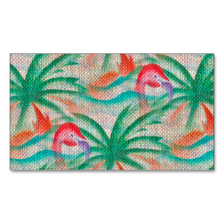 Flamingo Palm Tree Burlap Look Magnetic Business Cards
