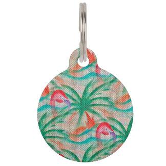 Flamingo Palm Tree Burlap Look Pet Name Tags