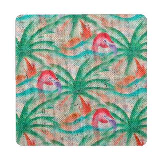 Flamingo Palm Tree Burlap Look Puzzle Coaster