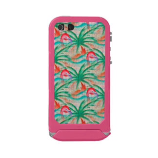 Flamingo Palm Tree Burlap Look Incipio ATLAS ID™ iPhone 5 Case