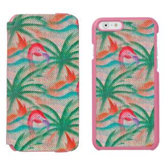 Flamingo Palm Tree Burlap Look Incipio Watson™ iPhone 6 Wallet Case