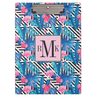 Flamingo & Palms on Geometric Pattern Clipboard