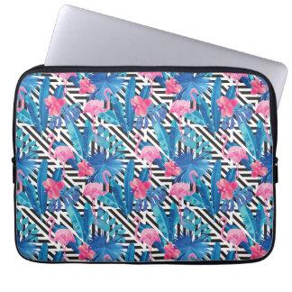 Flamingo & Palms on Geometric Pattern Laptop Sleeve