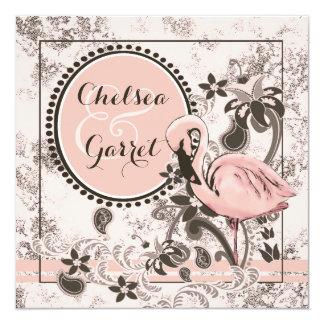 Flamingo Paradise Wedding 13 Cm X 13 Cm Square Invitation Card