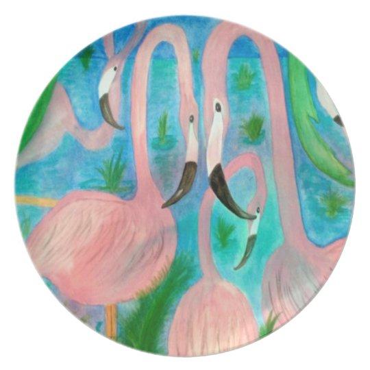 Flamingo party art plate