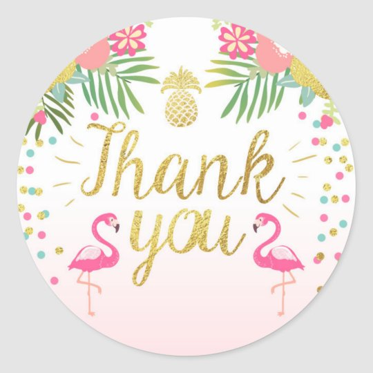Flamingo party favour tags tropical thank you card