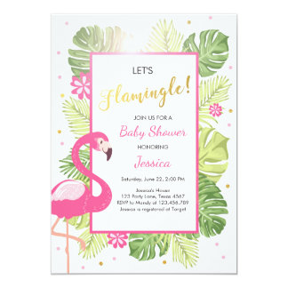 Flamingo party Tropical luau Baby shower invite