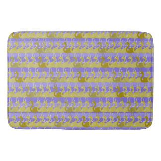 Flamingo Pattern Bath Mat (Gold on Purple)