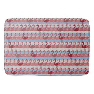 Flamingo Pattern Bath Mat (Red on Blue)