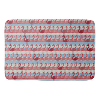 Flamingo Pattern Bath Mat (Red on Blue) Bath Mats