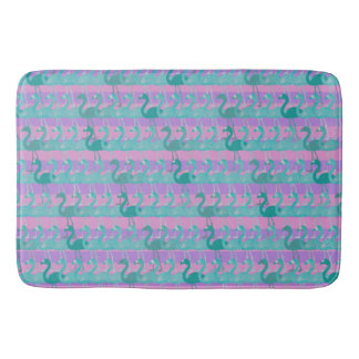 Flamingo Pattern Bath Mat (Teal on Pink/Purple)