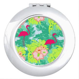flamingo pattern compact mirror