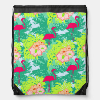 flamingo pattern Drawstring Backpack