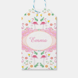 flamingo pattern gift tags